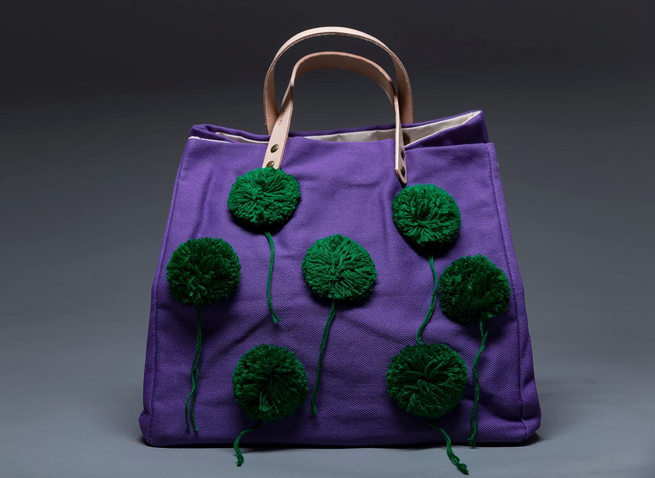 Purple Pom-Pom Totes