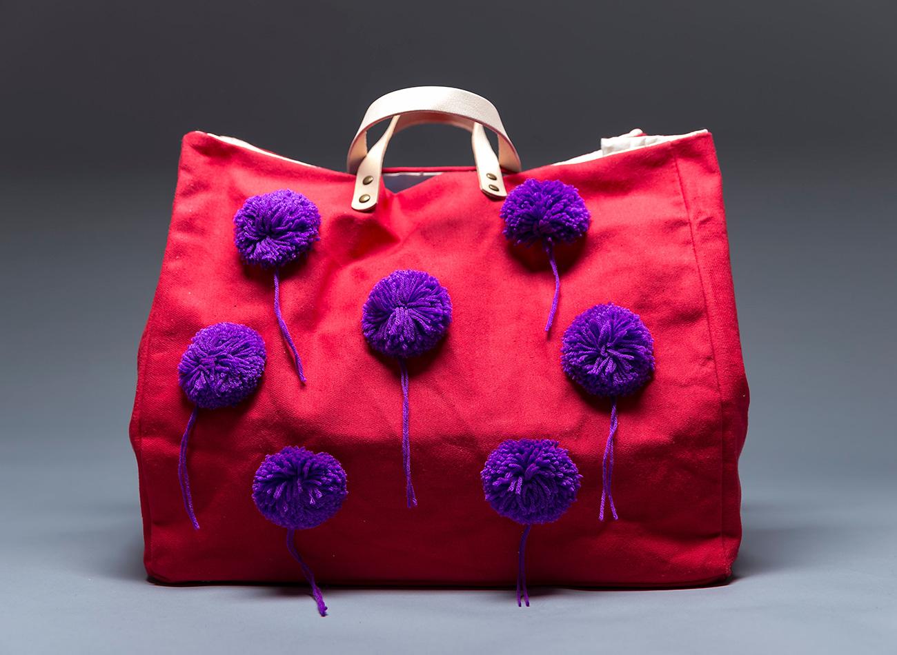 Red Pom-Pom Totes